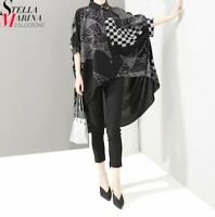 Black Grey Urban Edgy Oversize Designer Long Loose Summer Stella Blouse Shirt 12