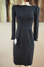 NWT VINTAGE ST. JOHN  FOR NEIMAN MARCUS  BLACK BOW/JEWEL OPEN SLEEVES DRESS,sz 4