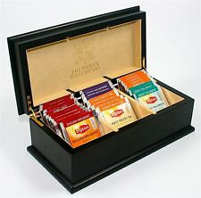 ITC Black Premier Cream Velvet 3 Comp Wooden Tea Chest Box 30 Lipton Tea Bags