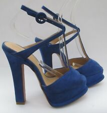 5029abfa5d1 New listingZara size 3 (36) blue suede high heel platform sandals t bars