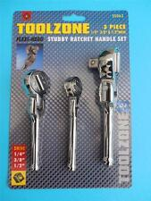 3 Pc Toolzone Flexi Head Stubby Ratchet Set For Sockets With Warranty