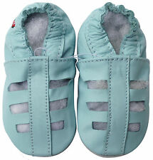 carozoo sandals light blue 18-24m soft sole leather baby shoes