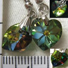 Handmade Earrings using SWAROVSKI element 1cm AB Crystal heart Vitral Medium US1