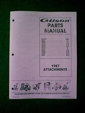 Gilson Tractor Attachments Parts Manual 1987
