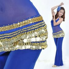 US New Belly Dancing Hip Scarf Skirt Wrap Golden Coins dance coins belt Costume