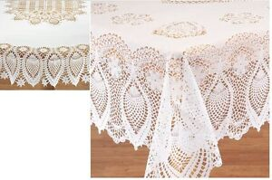 Crocheted Lace Vinyl Table Cover, Dignify Your Table Setting Sophisticated Cover