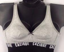 No Wire Unlined Cotton Blend Plus Bra GRAY LOGO Cacique Lane Bryant NWOT