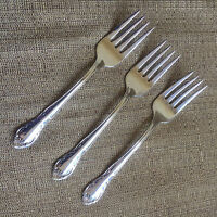 Banquet Tradition Stainless Sears Roebuck  Scroll Plume Beading  3 Salad Forks