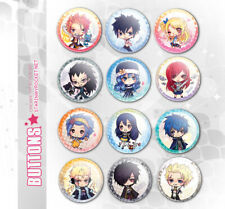 Fairy Tail Anime Buttons Set Chibi Art Natsu Grey Lucy Erza Gejeel Levy Laxus +