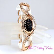 OMAX Unusual Rose Gold Plt & Black Seiko Movt Watch w/ Swarovski Crystals JES590