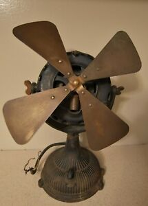 "Rare Original Antique GE General Electric Pancake 12"" Fan Cast Iron & Brass 1903"