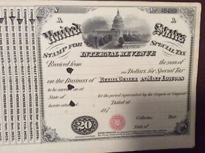 Retail Dealer in Malt Liquors  IRS Special Tax Stamp  1870's