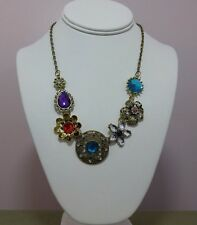 Vintage Design Womens Flower & Gem Pendant Chain Link Fashion Necklace