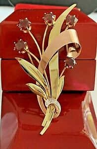 UNIQUE 6.08CT VINTAGE 14K YELLOW & ROSE GOLD NATURAL GARNET DIAMOND BROOCH PIN