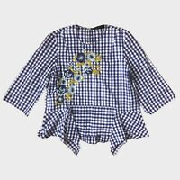 Zara Blue White Gingham Check Floral Embroidered Beaded Frill Blouse L - B47