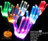 LED Rave Flashing Gloves Glow 7 Mode Light Up Finger Tip Lighting Pair White NEW