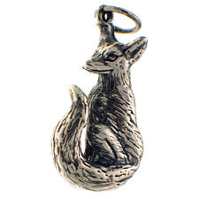 Sterling 925 British Silver Pendant Charm Fob Large Heavy Hallmarked Fox