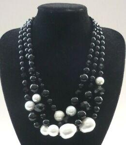 Vintage Jaegar Designer Triple Strand Black Glass & Large Pearl Bead Necklace