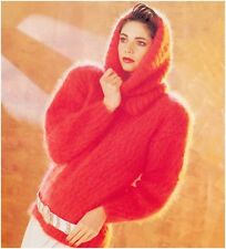 Ladies' Mohair Round Neck Sweater with Matching Cowl Vintage Knitting Pattern