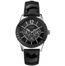 GUESS Black Patent Leather Chronograph FACET Womens Watch W95134L2