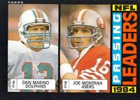 1985 Topps #192 Passing Leaders Dan Marino/Joe Montana 49ers Dolphins
