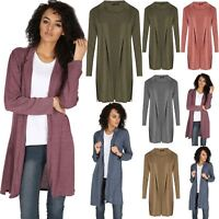 Women Ladies Cardigan Knit Side Split Collar Longline Duster Coat Italian Blazer