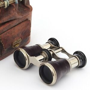 Pair of Leather and Chrome Opera Glasses with Original Carry Bag c1920s