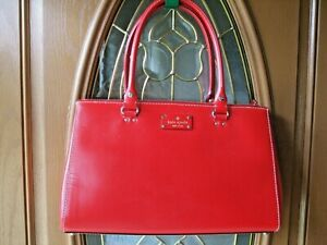 KATE SPADE Wellesley Martine,Leather Satchel,TOTE BAG,RED, WELLESLEY COLLECTION