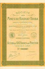 Argelia, Societe des Mines du Koudiat-Touba, accion, 1929 (Siege: Constantine)