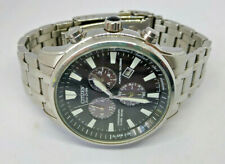 Mens Citizen Eco-Drive Stainles Steel Perpetual Calender Chronograph Watch E820
