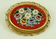 Vintage Hand-made Italian Cameo, Mosaic floral brooch