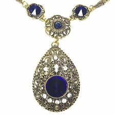 "Blue Sapphire Pear Pendant Chain Necklace 16"" Yellow Gold Plated Jewelry"