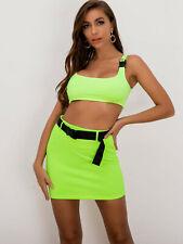 Women's Summer Active Sports Suit Top Cheerleading Costume Dress Set Neon Lime