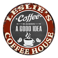 CPCH-0143 LESLIE'S COFFEE HOUSE Chic Tin Sign Decor Gift Ideas