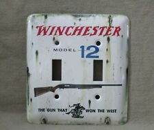 Winchester Model 12 - Metal Double Light Switch Cover - New - Old Tin Sign Look