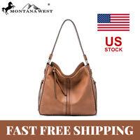 Women Leather Hobo Handbag Concealed Carry Studded Shoulder Bag Crossbody Purse