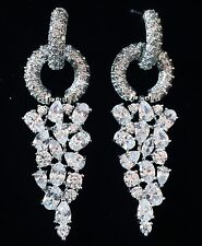 EARRING using Swarovski Crystal Dangle Drop Wedding Bridal Rhodium Silver SW45