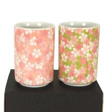 """2 PCS. Japanese 4-1/8""""H Porcelain Sakura Sushi Tea Cups Gift Set, Made in Japan"""