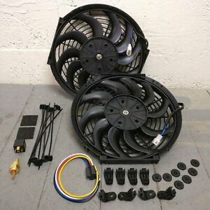 """GM B-Body Dual 12"""" S-Blade Cooling Fans w/ Fixed Temp Switch buick olds 283 427"""