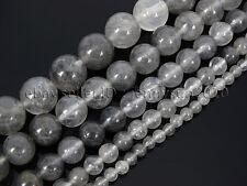 Natural Grey Cloudy Quartz Gemstone Round Beads 15.5'' 4mm  6mm 8mm 10mm 12mm
