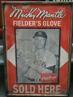 Antique Style Mickey Mantle Rawlings Glove Sign 24x36 ! HUGE
