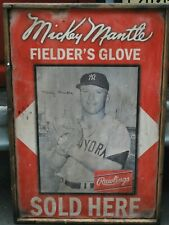Antique Style Mickey Mantle Rawlings Glove Sign 24x36 ! WOW