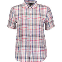RACING GREEN Men's Pure Linen Checkered Casual Shirt, Red & Blue, size Small