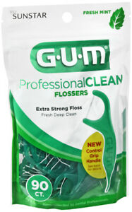 GUM Professional Clean Flossers Extra Strong Flosser Pick Fresh Mint 90 Count