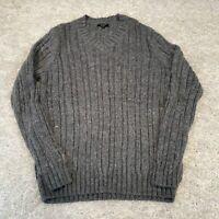 NEW LOOK Mens Ribbed Jumper Medium Grey Pullover
