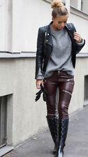 Zara Femme Bordeaux En Cuir Synthétique Motard Pantalon Leggings Taille S, Bnwt