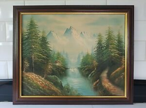 Original Vintage Impressionist Mountain Landscape Oil Painting