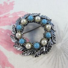 Faux Pearl Wreath Brooch Pin Vintage Silvertone, Turquoise Bead &