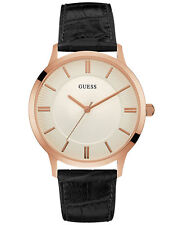 Guess Men's Escrow Black Leather Strap Watch 43mm Watch U0664G4  NEW!