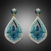 New Design Gradient Blue Drop Leaf Crystal Rhinestone Women Chunky Earring Club